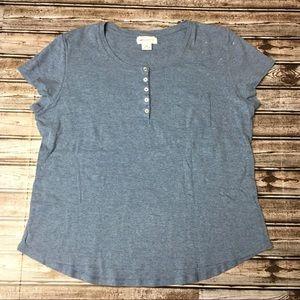 Liz Claiborne Blue Short Sleeve Tshirt XL